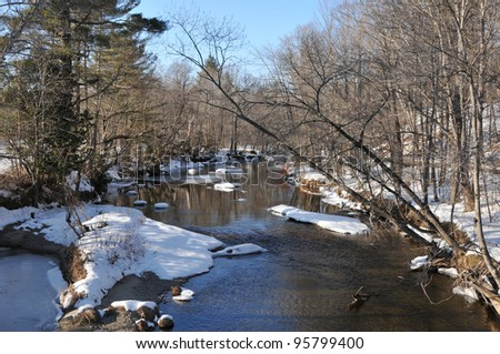 A very cold looking river on a winter day in Andover, Maine