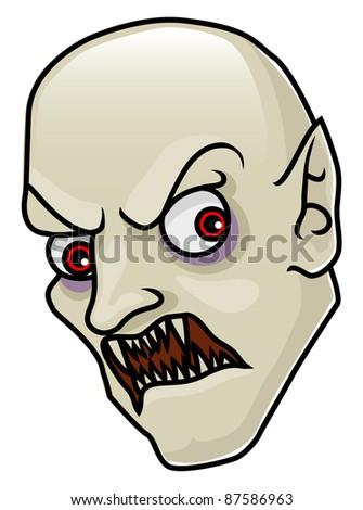 A very detailed cartoon halloween vampire head or mask. Raster.