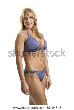 stock photo : A very fit mature woman in a bikini