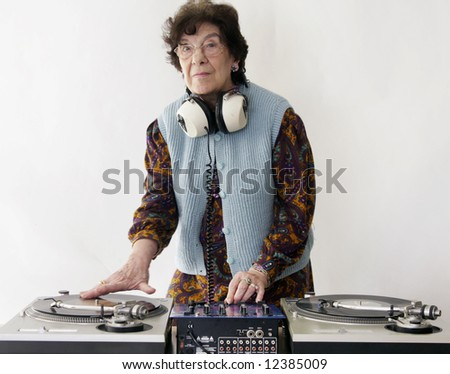 a very funky senior dj scratches