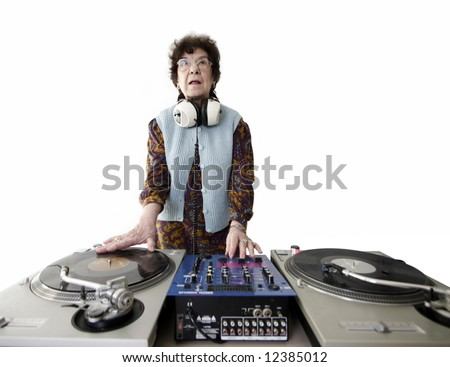 a very funky senior lady dj
