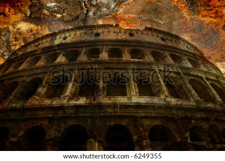 A very grungy artistic perspective on the crumbling Coliseum of Rome, Italy