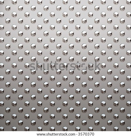 a very large sheet of silver, alloy or nickel studded metal plate