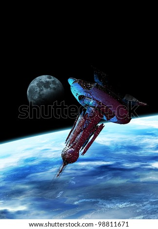 A very large spaceship is seen in space bathed in a blue glow from Earth below. In the distance is the moon.