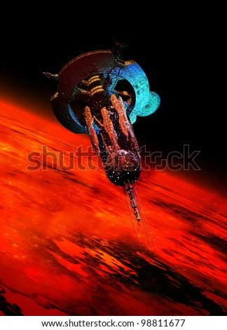 A very large spaceship is seen in space bathed in a red glow from a Mars like planet which it is orbiting around. - stock photo