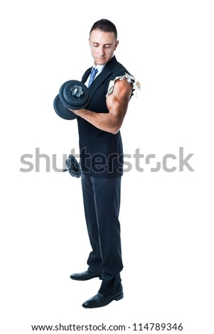 a very muscular businessman holding weights