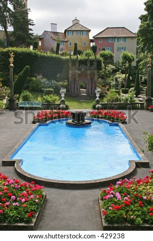 A very ornate garden pool