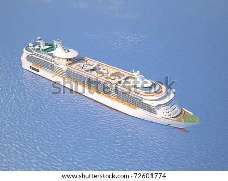 A very realistic top view 3D illustration of a Cruise Ship, similar to the Freedom of the Sea ship. Sailing out at sea.