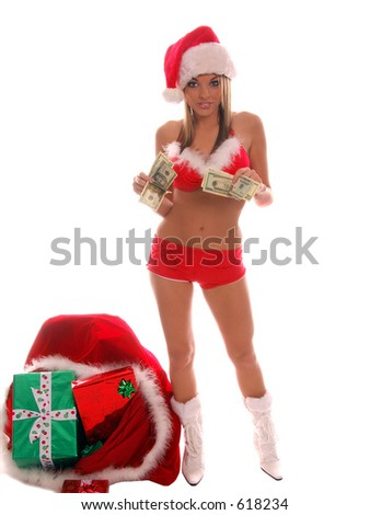 A very sexy Mrs. Santa Clauswith hands full of cash depicting the High Cost of Christmas