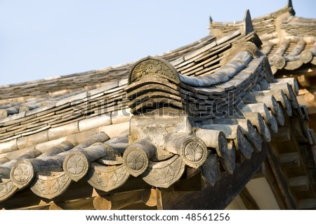 A very typical example of the tiling used in traditional Korean roofs.