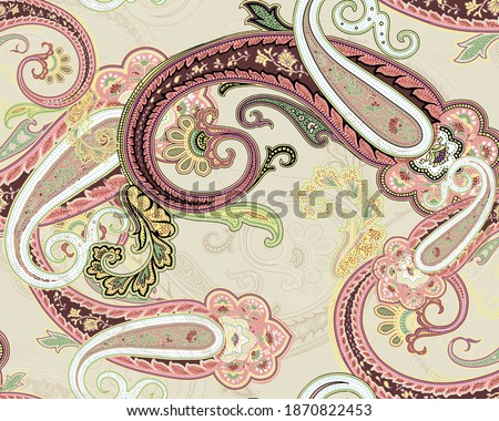A very unique mughal pattern of baroque, Fantastic flower, leaves. Textile bohemian print. floral and paisley design for textile and digital print - Illustration