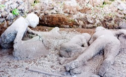 A victim in Pompeii of the eruption of Mt Vesuvius