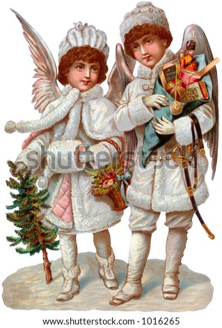 A Victorian illustration of Christmas angels with gifts (circa 1890)