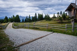 A view at the country road of Rodenecker und Lusner Alm in South Tyrol, Italy