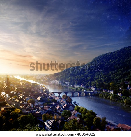 A view at the downtown Heidelberg and Neckar in Sunset.  Baden-Wuerttemberg/Germany