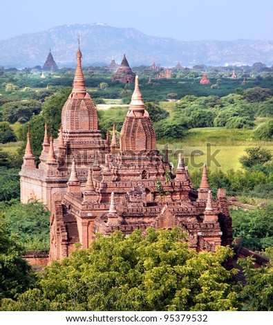 A view at the temples of Bagan in Myanmar