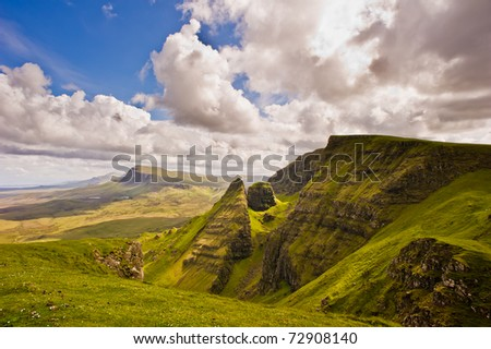 A view from a lookout of Quiraing, isle of skye in Scotland
