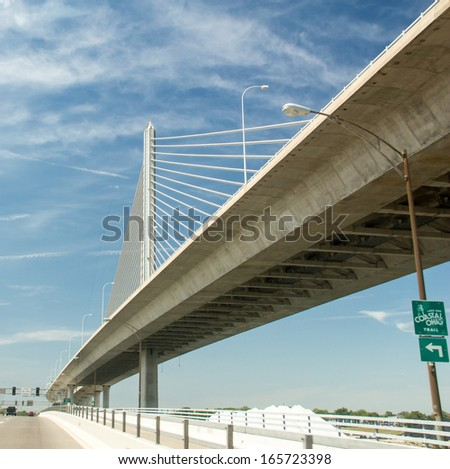 A view from below the Veterans' Glass City Skyway, or the Toledo Skyway Bridge, a cable-stayed bridge on Interstate 280 in Toledo, Ohio. #165723398
