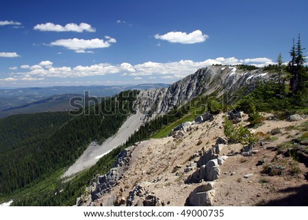 A view from high mountain peak.