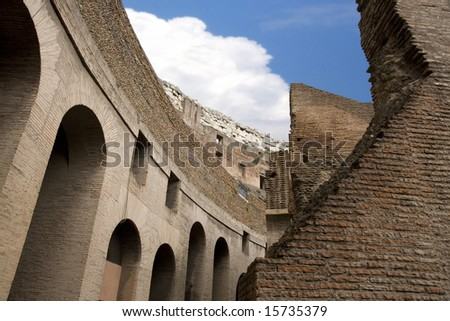 A view from inside the Coleseum in Rome Italy. - stock photo