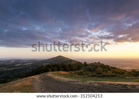 A view from Pinnacle hill towards Perseverance hill at sunrise.