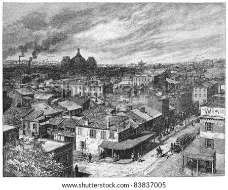 A View from St. Louis, Missouri, USA. Illustration from Harper's Monthly Magazine march 1884.