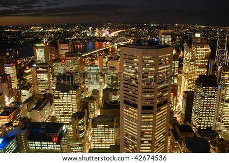 A view from Sydney Tower on night Sydney skyline