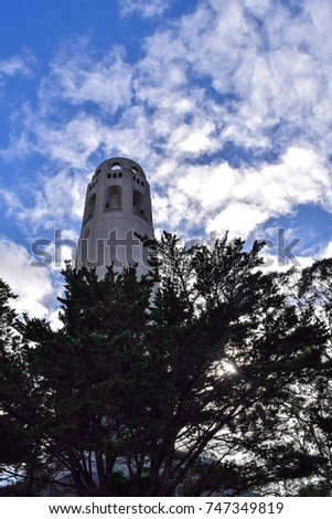 A view from the base of the Coit Tower on a sunny day in San Francisco, California #747349819