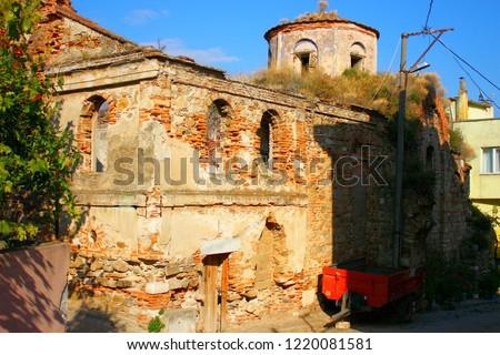 A view from the historical Kemerli Kilise (Vaulted Church) in Tirilye, Bursa Turkey.  Stok fotoğraf ©