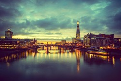 A view from the London skyline from the millennium bridge