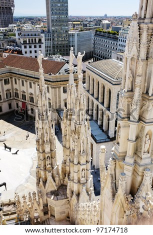 A View from the roof of the Milan Cathedral, Milan, Lombardy, Italy.