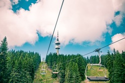 A view from the seated lift to the television tower Snejanka near by Pamporovo resort in Rhodopi mountain, Bulgaria.