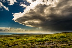 A view from the summit of Pendle Hill, Clouds formation over north-west Lancashire, Springtime in Forest of Bowland, Lancashire, England UK