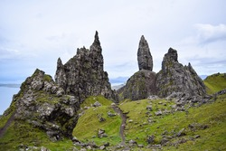 A view from the top of the Old Man of the Storr on the Isle of Skye, Scotland.