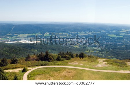 A view from the Veterans War Memorial Tower at the summit of Mount Greylock in Western Massachusetts, USA.