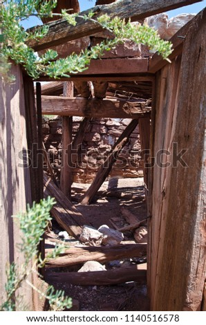 A view inside the old Butch Cassidy dugout in the browns park countryside in Utah.