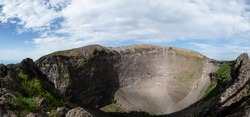 A view into the crater at Mount Vesuvius