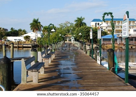 A view looking toward the entrance of the Naples Dock.