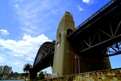 A view looking up at the Harbor Bridge and the cityscape of Sydney, Australia