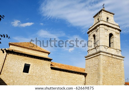A view of a bell tower of a church in Morella, Valencia, Spain
