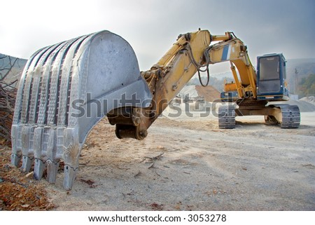 A view of a big bulldozer at construction site