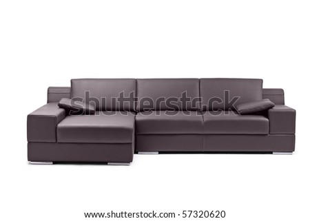 A view of a black leathered sofa isolated on white background