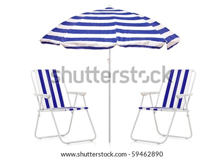A view of a blue and white striped umbrella and beach chairs isolated on white background