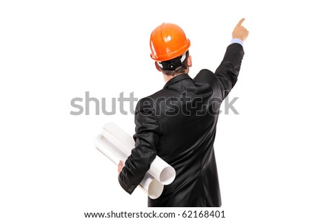 A view of a foreman in suit pointing isolated on white background