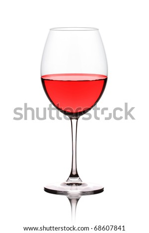 A view of a glass of red wine isolated on white background