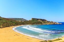A view of a Golden Bay in Ghajn Tuffieha region, Malta