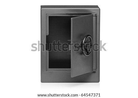 A view of a grey empty safety deposit box isolated on white background - stock photo
