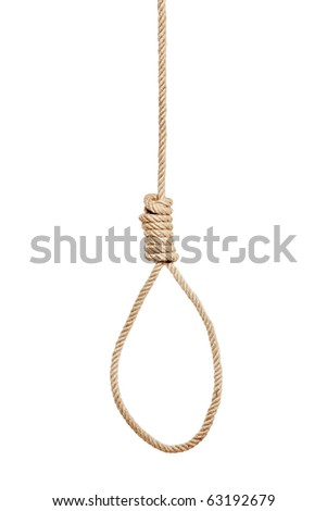 A view of a hangman's noose made of natural fiber rope isolated on white background