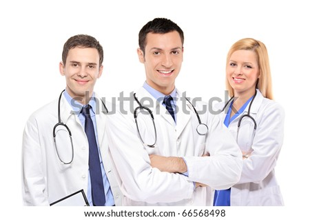 A view of a happy medical team of doctors, men and woman, isolated on white background