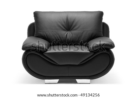 A view of a modern leather chair isolated on white background